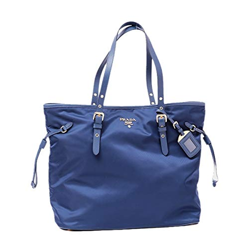 Prada Tessuto Saffiano Royal Blue Nylon and Leather Trim Shopping Tote Bag 1BG997