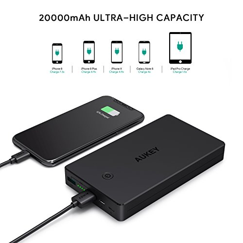 AUKEY 20000mAh electric power Bank together with Lightning Micro key in easily transportable Charger 34A twin USB resource Battery Pack for iPhone X 8 Plus iPad Pro and more trave Chargers
