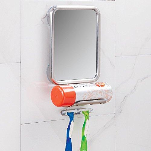 InterDesign Forma Suction Bathroom or Shower Shaving Mirror with Shaving Cream and Razor Holder -...