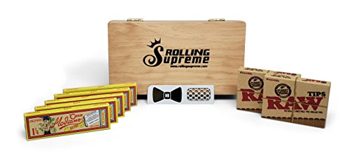 Club Modiano Rolling Papers Bistro 1 1/4 Ungummed (5 Packs) Medium Wooden Stash Box, RAW Pre Rolled Tips (2 Packs) and Hippie Butler Grinder Card - 9 Item Bundle