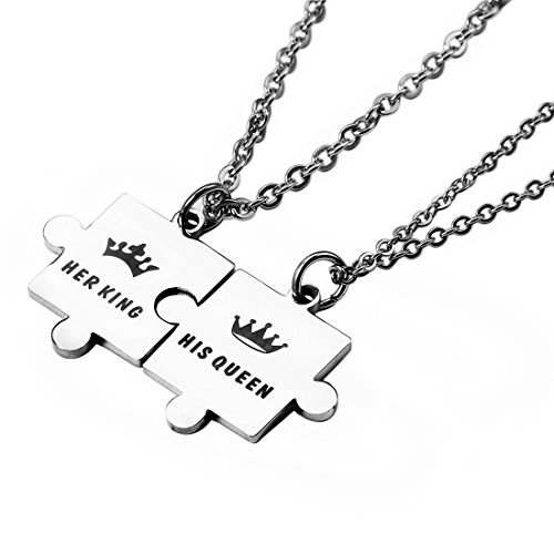 - Meibai Couples Jewelry Stainless Steel Puzzle Pendant Necklace Keychain for Boyfriend and Girlfriend (Necklace-Her King & His Queen)