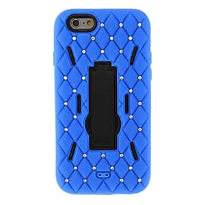 Mini - 2 in 1 Design Grid Pattern PC+Solicone Cover with Stand for iPhone 6 , Color-Rose