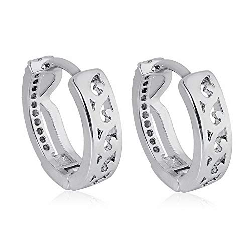 Endicot 1Pair Women Flower Heart Wedding Silver Plated Ear Earrings Jewelry Huggie Gift | Model ERRNGS - 17263 |