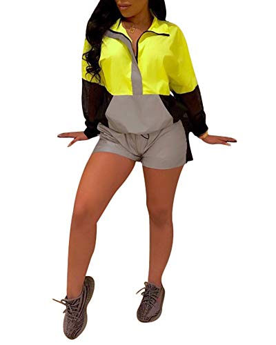 Reflective Collar Mice - MS Mouse Womens Reflective Jumpsuits Long Sleeve Color Block Short Rompers XL