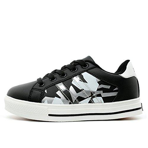 BELECOO Jungen Sneaker Leichte Sportschuhe Lace-up Laufschuhe für Mädchen Schwarz