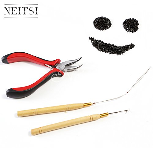 Neitsi Stick Hair Extension Remove Pliers + Pulling Hook + Bead Device Tool Kits for Silicone Micro Rings Beads Loops (with Black# Nano Rings)