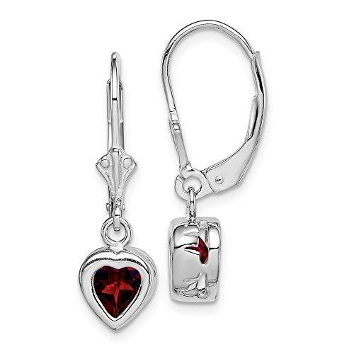 - Mia Diamonds 925 Sterling Silver 6mm Heart Garnet Leverback Earrings (25mm x 7mm)