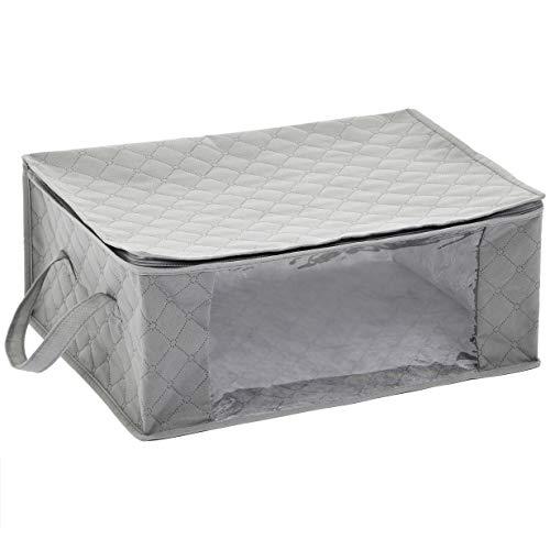 AmazonBasics Foldable Large Zippered Storage Bag Organizer Cubes with Clear Window & Handles, 3-Pack