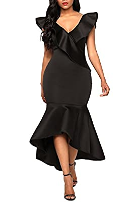 Podlily Women Sexy Shoulder Ruffle High Low Mermaid Bodycon Evening Maxi Dress