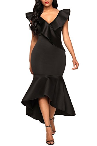 Podlily Womens Elegant V Neck Off The Shoulder Hi-Lo Mermaid Bodycon Gowns Wedding Maxi Long Dress X-Large Black ()
