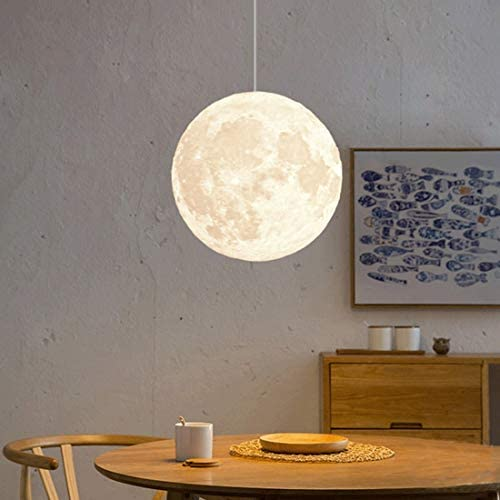 MQUPIN 8 10 12 14 18 Moon Pendant Lamp 3D Printing Moon Light Chandelier Modern Personality Bedroom Children s Room Balcony 8