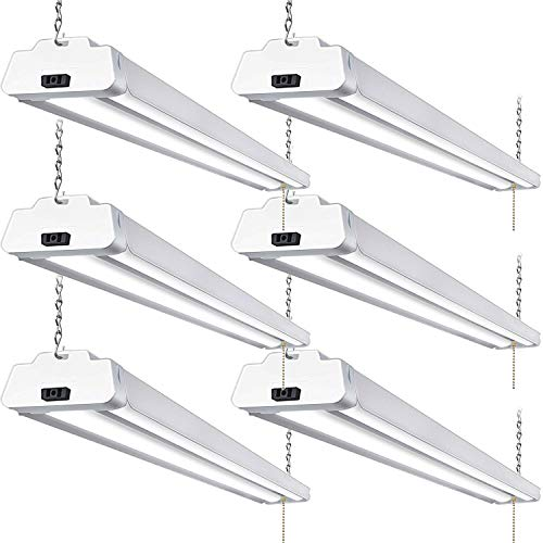 - Hykolity 5000K LED Shop Light Linkable, 4FT Daylight 42W LED Ceiling Lights for Garages, Workshops, Basements, Hanging or FlushMount, with Plug and Pull Chain, 3700lm, ETL- 6 Pack