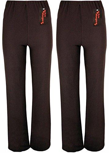 KACEY MORGAN conjunto de dos pantalones de mujer con cuidado corte acampanado. Tallas 38-54, tres largos distintos, negro, azul marino o marrón. marrón