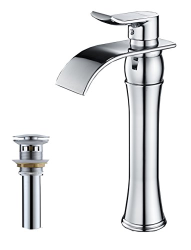 (BWE Waterfall Spout Chrome Single Handle One Hole Bathroom Vessel Sink Faucet Deck Mount With Matching Pop Up Drain With)