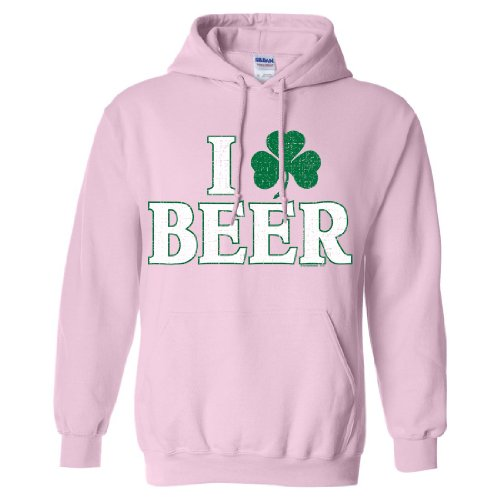 St Patricks Day Irish I Love Beer Sweatshirt Hoodie - Light Pink Small