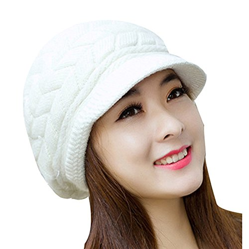 YCHY Women girl's Winter Rabbit Hair Warm Knit Hat Thicken Ski Caps with Visor (white) - Black Cat Costume Target