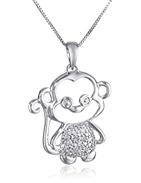 10k White Gold Diamond Monkey Pendant Necklace (0.07 cttw,), 18""