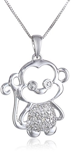 10k White Gold and Diamond Monkey Pendant Necklace (0.07 cttw,), (White Gold Monkey)