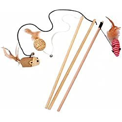 Cat Wood Wand Teaser Toy ,Best Cat Catcher Mice Natural Sisal Wand Teasers with Bell,Feather on Elastic String Keep Your Kittens Jumping and Pouncing