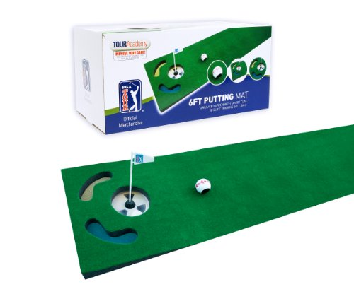 PGA Tour 6ft Putting Mat with Guide Ball, Ball Alignment Tool and Training...