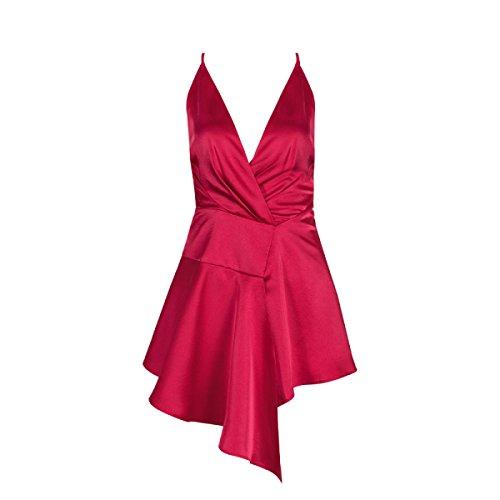 Mujeres Chica Elegante Atractivo Sin Mangas Cuello Halter De Cintura Alta Cumpleaños Cóctel Baile Banquete Vestido Red