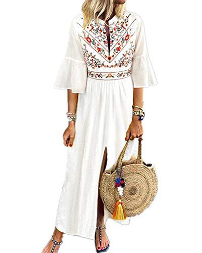 CNFIO Women's Bohemian Floral Embroidery Kaftans Dress Split Maxi Dress White S