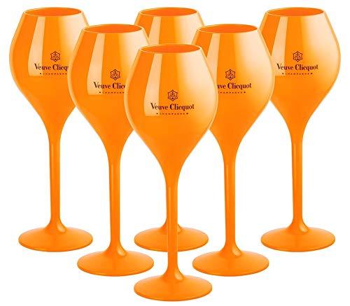 Veuve Clicquot VCP Rich Coupe Yellow Acrylic Champagne Poolside Glass Glasses Flutes Set (6 pcs) (Best Champagne Veuve Clicquot)
