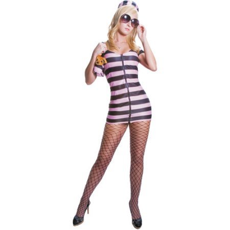 Princess in Prison Pink and Black Adult Halloween Costume (Princess In Prison Costume)