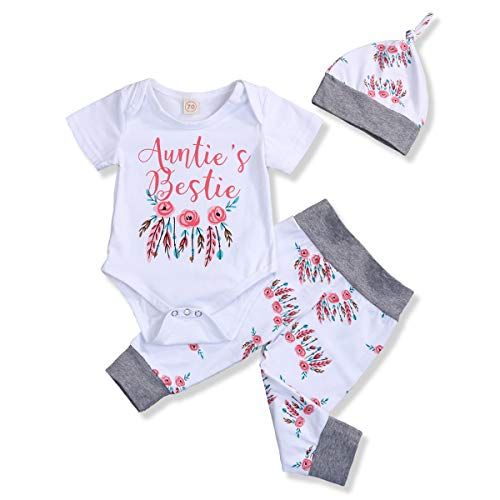 Newborn Baby Girls Outfit Set Auntie's Bestie Romper Floral Pants Valentine's Day Clothing Set (Short Sleeve-Floral, 0-6 Months)