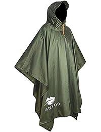 9ef800e06dac Waterproof Military Rain Poncho Lightweight Reusable Hiking Rain Coat Jacket  with Hood for Boys Men Women