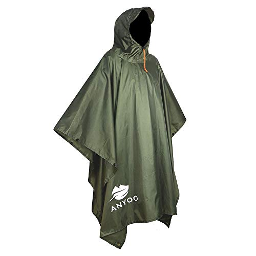 Anyoo Waterproof Rain Poncho Lightweight Reusable Hiking Hooded Coat Jacket for Outdoor Activities]()