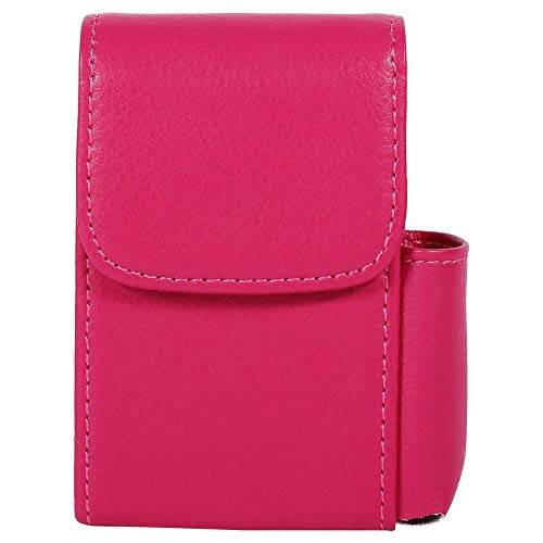 (Zerodis PU Leather Cigarette Box Anti-Scratch Protective Storage Case with Lighter Holder for Cigarette Lighter Name Card(Rose Red))
