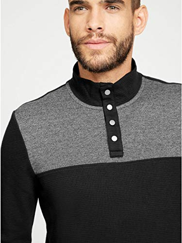 G by GUESS Men's Salvator Mock-Neck Sweater Jet Black ()