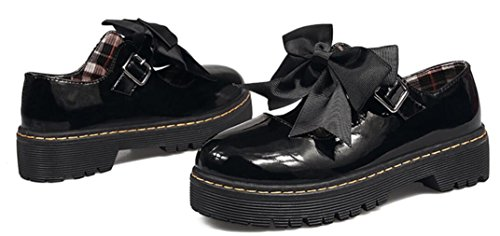 Lolita Shoes for Women, Cute Girls Round-Toe Mid-Heel Platform Oxford Shoes (8, Glossy Black) by ACE SHOCK