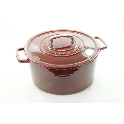Collector's Enameled Cast Iron Red 8Qt round Casserole