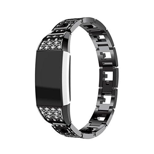 Recommendation Memela(TM)For Fitbit charge 2 Smart Watch,Exclusive Women Elegant Luxury Alloy Crystal Bling Wristwatch Bracelet Strap Belt Replacement (Black)