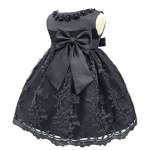 Meiqiduo Baby Girl Birthday Wedding Dress Infant Flower Girls Christening Baptism Dresses with Bowknot for NB-18months (18M/13-18 Months, Black) -