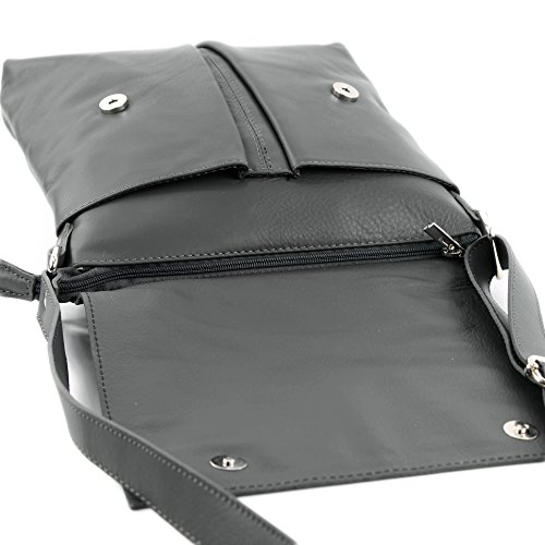 ital dames de épaule en Messenger Dunkelgrau sac modamoda grande sac T75 cuir 5Oq6RYccg