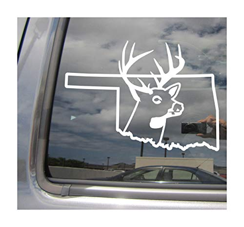 Right Now Decals Oklahoma State Deer Hunter Hunting Season Outdoor - Cars Trucks Moped Helmet Hard Hat Auto Automotive Craft Laptop Vinyl Decal Store Window Wall Sticker 01240