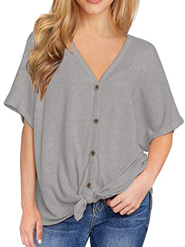 IWOLLENCE Womens Loose Henley Blouse Bat Wing Short Sleeve Button Down T Shirts Tie Front Knot Tops Light Gray -