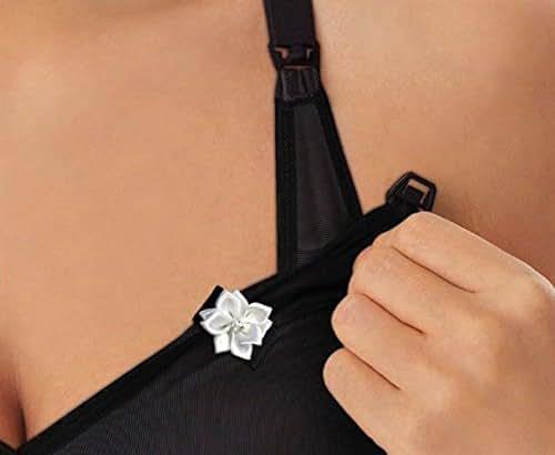 Breastfeeding and Pumping Nursing Bra Reminder Clip (White Magnetic Flower Black Clip) Handmade
