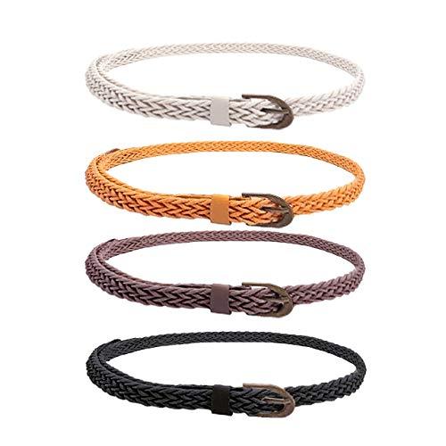 (CHIC DIARY Women Braided Waist Belt Skinny Woven Belt for Dress (#D-4pcs))