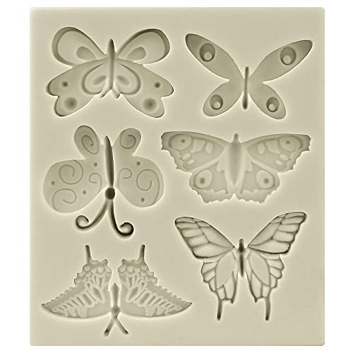 Funshowcase Butterflies Silicone Candy Mold, Mini, for Cake Decoration, Cupcake Decorate, Polymer Clay, Crafting, Resin Epoxy, Jewelry Making 11.3x9.3x1cm (Chocolate Mold Butterfly)