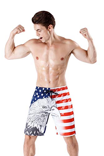 c394b223a9c Mens Stylish Swim Trunks Quick Dry Board Shorts American Flag/Flamingo with  Pockets 20