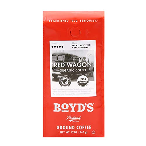 (Boyd's Organic Red Wagon Coffee - Ground Dark Roast - 12-Oz Bag)