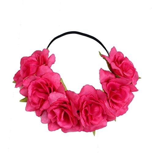 Vovotrade Bohemia Large Rose Flower Forehead Hair Headband Hair Crown Summer Festival Garland (Hot - Ray Summer Naked