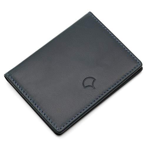 05 Orange Bifold Leather Navy Window Single Leather Blue Genuine Wallet gYx7xn