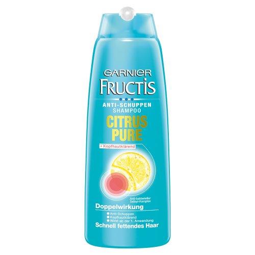 Garnier Fructis Antischuppen Shampoo Citrus Pure / Haarshampoo für schnell fettendes Haar (mit Anti-bakteriellem Salizyl-Komplex) 6er Pack - 250ml