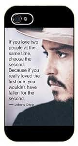 iPhone 6SI Love dos personas al mismo tiempo, elegir el segundo. Johnny Depp, funda de plástico de color negro/y la Vida Motivación inspiracional cita/Cerradura Authentic