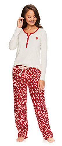 U.S. Polo Assn. Womens Casual Long Sleeve Shirt and Pajama Pants Sleep Sleepwear Set